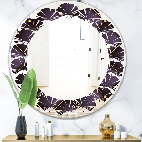 Designart 'Quilted pattern' Modern Round or Oval Wall Mirror - Leaves