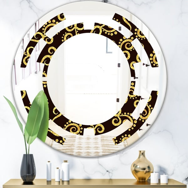 Designart 'Gold and Black Swirl II' Modern Round or Oval Wall Mirror - Space