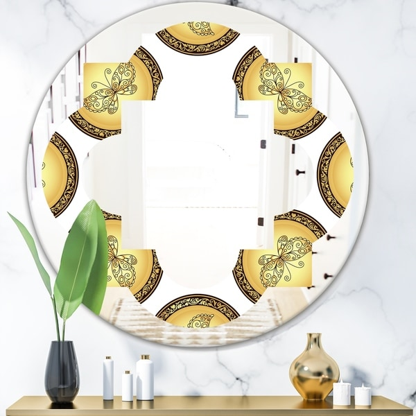 Designart 'Gold and browne pattern with gradient vintage circles' Modern Round or Oval Wall Mirror - Quatrefoil