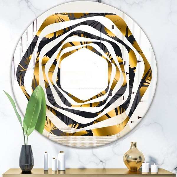 Designart 'Golden Palm Leaves III' Modern Round or Oval Wall Mirror - Whirl