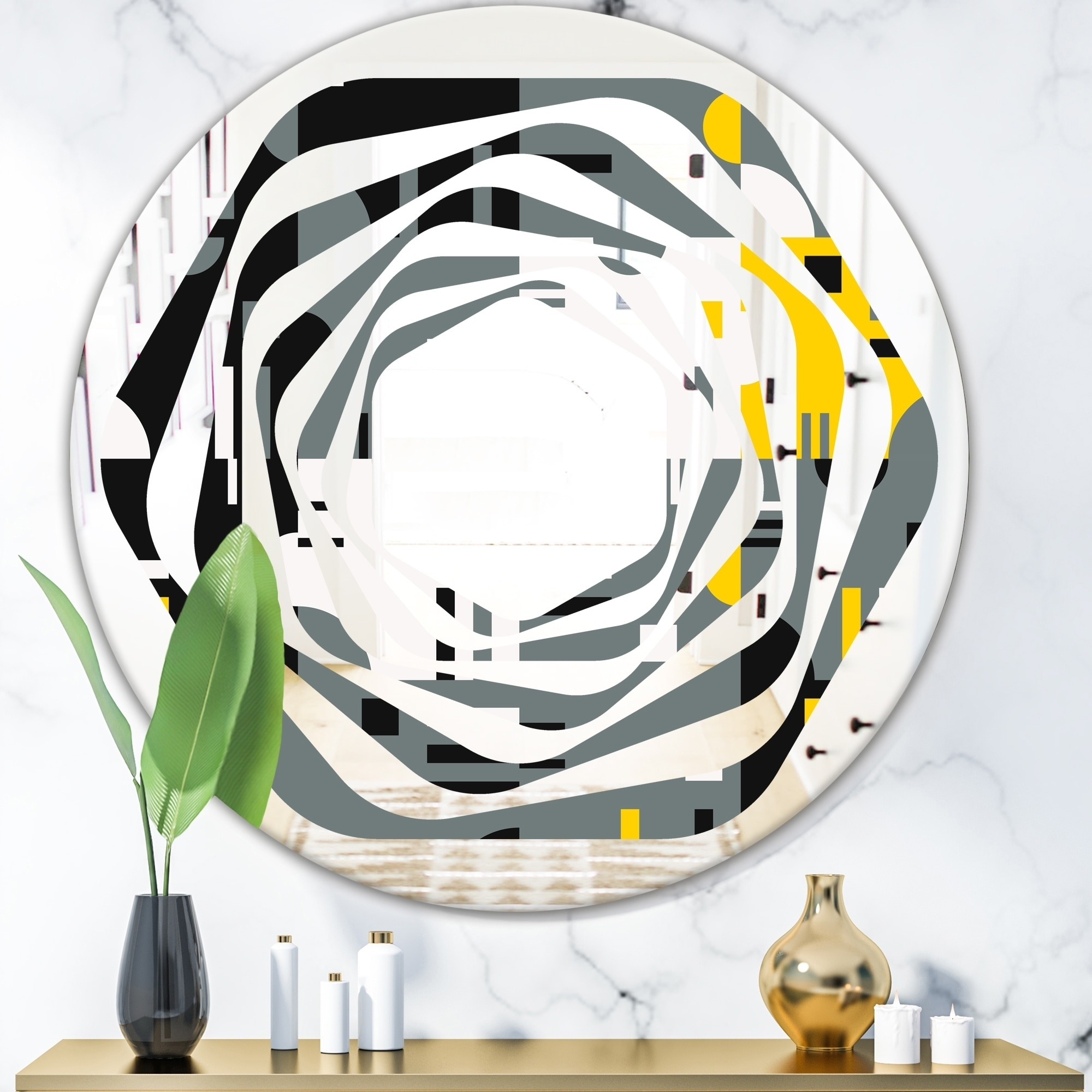 Designart Retro Abstract Design I Modern Round Or Oval Wall Mirror Whirl On Sale Overstock 29908031