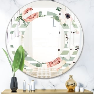 Designart 'Floral Retro Pattern V' Cottage Round or Oval Wall Mirror - Space