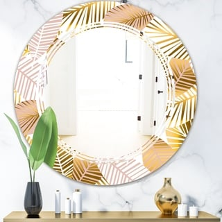Designart 'Golden Palm Leaves II' Modern Round or Oval Wall Mirror - Triple C