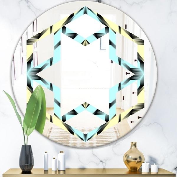 Designart 'Black and White Fashion Ornament' Modern Round or Oval Wall Mirror - Hexagon Star