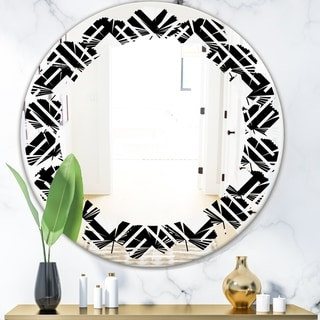 Designart 'Monochrome Geometric Pattern II' Modern Round or Oval Wall Mirror - Leaves