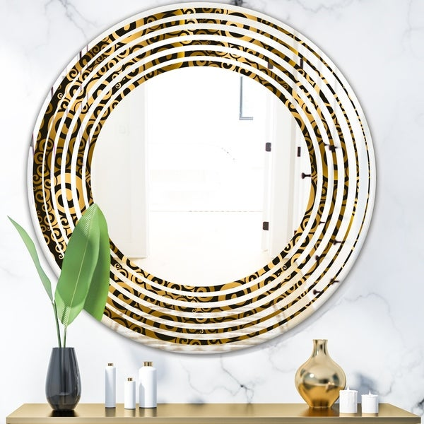 Designart 'Gold and Black Swirl I' Modern Round or Oval Wall Mirror - Wave
