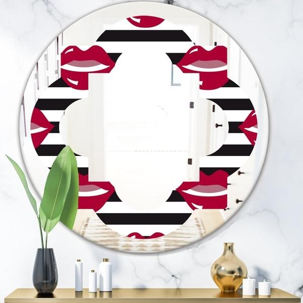 Designart 'Red Lips Fashion Pattern' Modern Round or Oval Wall Mirror - Quatrefoil