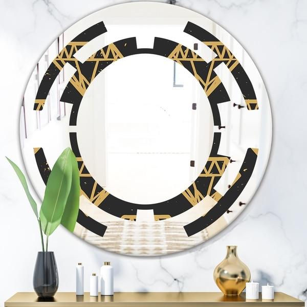 Designart 'Vintage Golden Diamonds' Modern Round or Oval Wall Mirror - Space