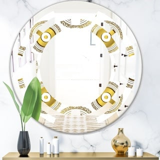 Designart 'Circular Golden Pattern I' Modern Round or Oval Wall Mirror - Space