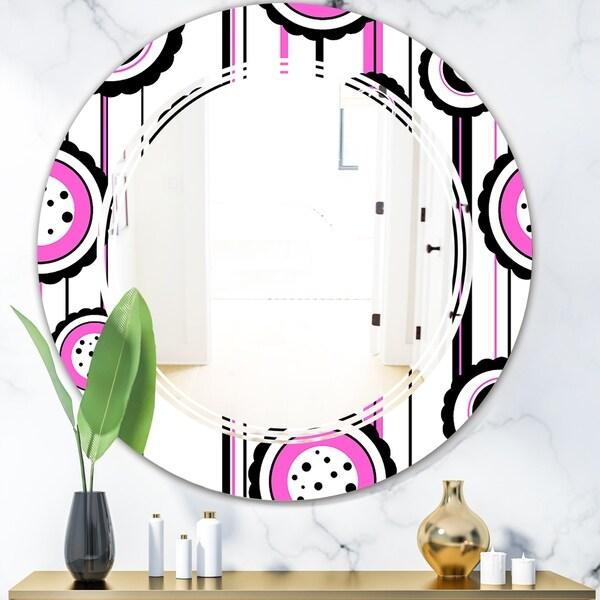 Designart 'Circular Retro Pattern I' Modern Round or Oval Wall Mirror - Triple C