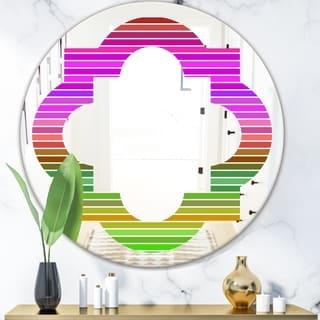 Designart 'Horizontal Retro Geometrical Pattern II' Modern Round or Oval Wall Mirror - Quatrefoil