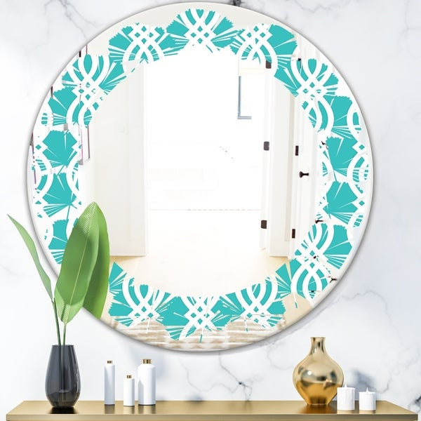 Designart 'Retro Pattern Abstract Design VII' Modern Round or Oval Wall Mirror - Leaves