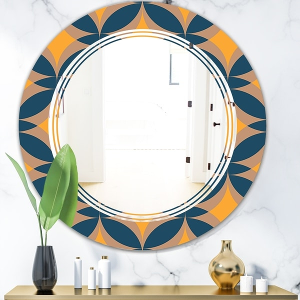 Designart 'Abstract Retro Design III' Modern Round or Oval Wall Mirror - Triple C