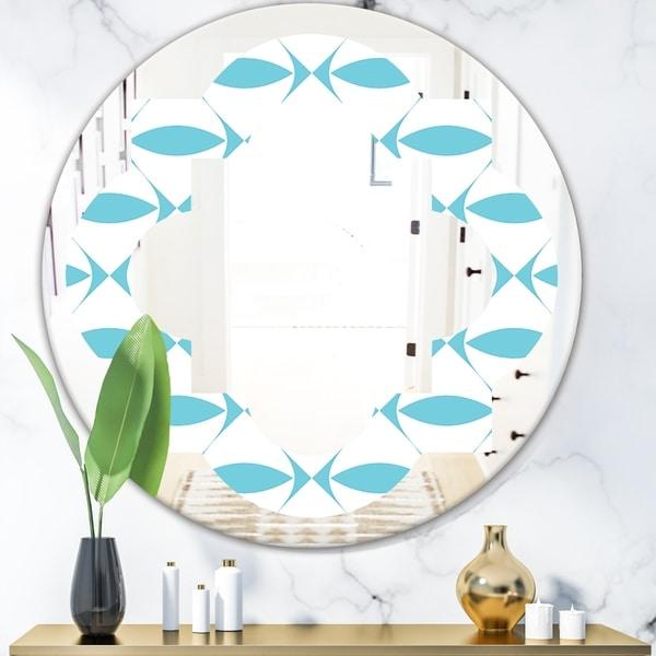 Designart 'Abstract Retro Geometrical Design III' Modern Round or Oval Wall Mirror - Quatrefoil