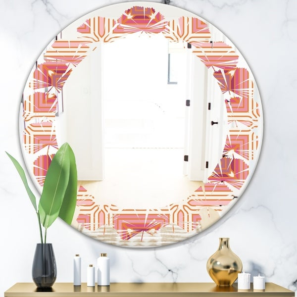 Designart 'Geometric Retro Design II' Modern Round or Oval Wall Mirror - Leaves