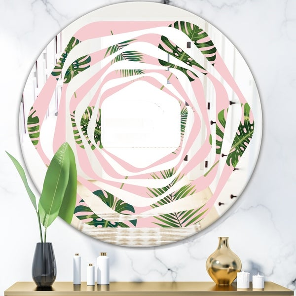 Designart 'Palm Tropical leaves pattern.' Modern Round or Oval Wall Mirror - Whirl