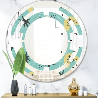 Designart '1950 Retro Pattern I' Modern Round or Oval Wall Mirror - Space
