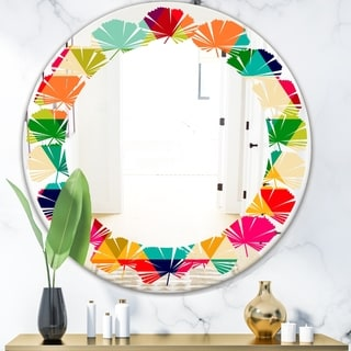 Designart 'Diamond Retro IX' Modern Round or Oval Wall Mirror - Leaves - Multi