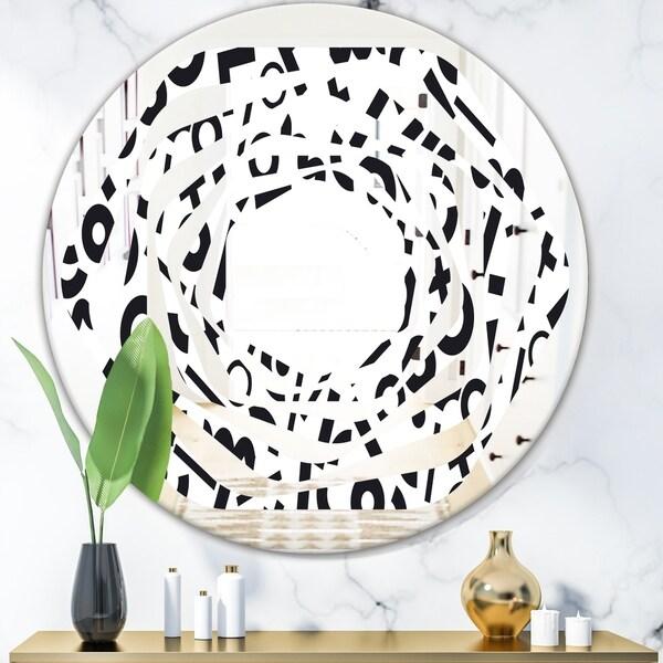 Designart 'Monochrome Geometric Pattern XIII' Modern Round or Oval Wall Mirror - Whirl