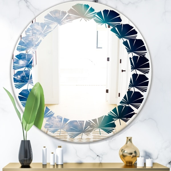 Designart 'Agate beautiful colorful slices and texture' Modern Round or Oval Wall Mirror - Leaves