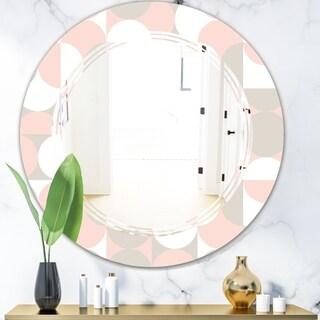 Designart 'Retro Circular Pattern III' Modern Round or Oval Wall Mirror - Triple C
