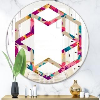 Designart 'Elegant blossom hand drawn folk pattern' Cottage Round or Oval Wall Mirror - Hexagon Star - Multi
