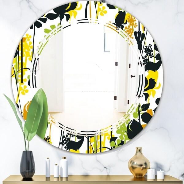 Designart 'Summer meadow pattern, black silhouettes' Modern Round or Oval Wall Mirror - Triple C