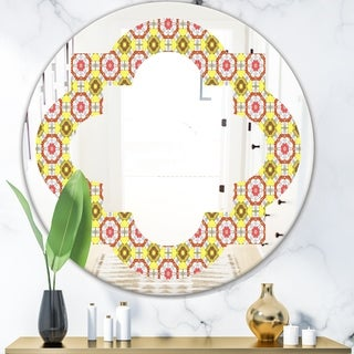 Designart 'Retro Ethnic Abstract Kaleidoscope Design' Modern Round or Oval Wall Mirror - Quatrefoil