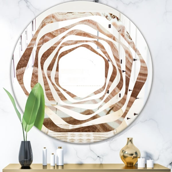 Designart 'Crystals minerals and stones' Modern Round or Oval Wall Mirror - Whirl