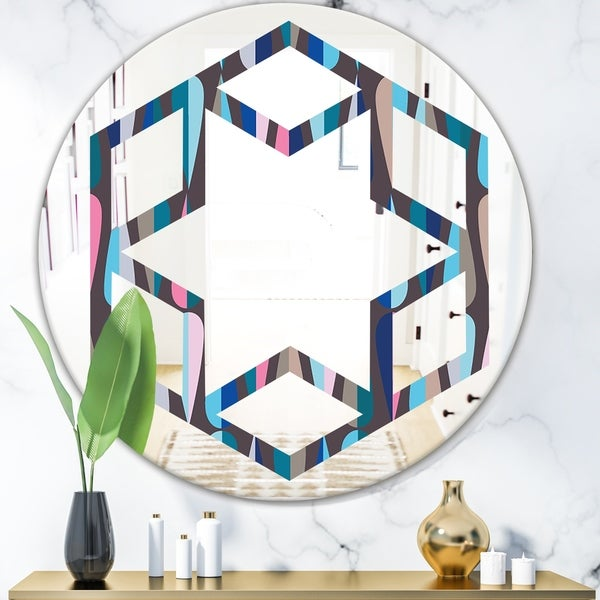Designart 'Retro Abstract Drops VIII' Modern Round or Oval Wall Mirror - Hexagon Star