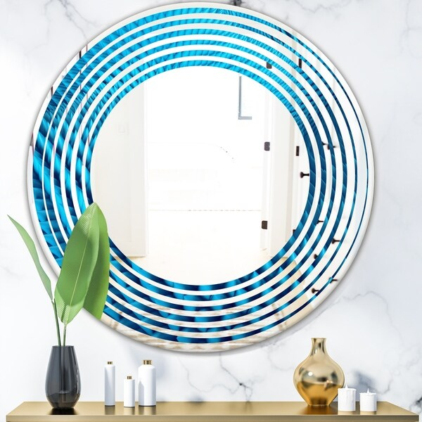 Designart 'Abstract Blue Wavy II' Modern Round or Oval Wall Mirror - Wave
