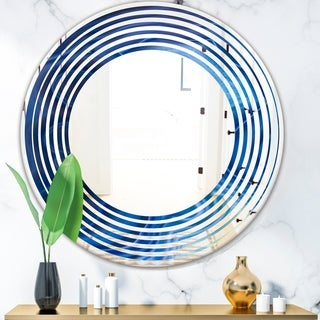Designart 'Blue Agate Stone Design' Modern Round or Oval Wall Mirror - Wave