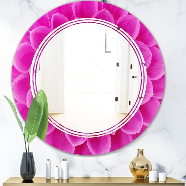 Designart 'Large Pink Flower and Petals' Modern Round or Oval Wall Mirror - Triple C