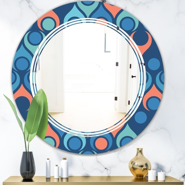 Designart 'Retro Abstract Drops X' Modern Round or Oval Wall Mirror - Triple C
