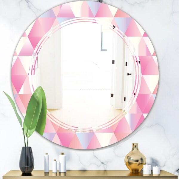 Designart 'Diamond Retro VI' Modern Round or Oval Wall Mirror - Triple C