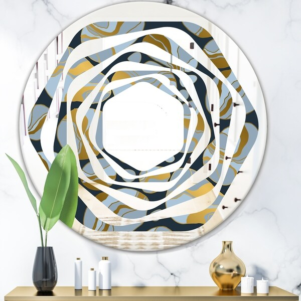 Designart 'Golden Marble Design IV' Modern Round or Oval Wall Mirror - Whirl
