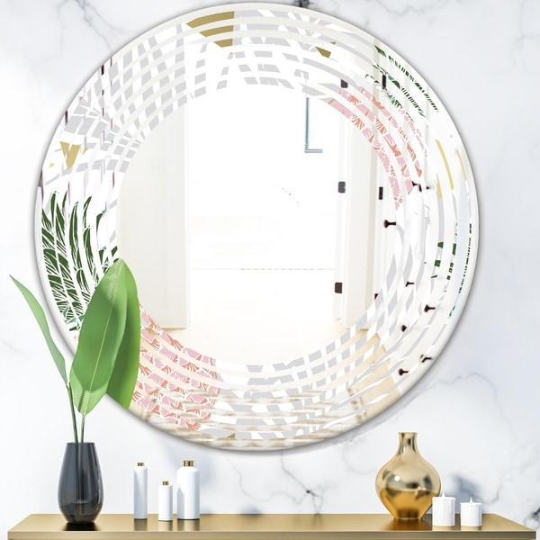Designart 'Pineappple On Tropical Leaves' Modern Round or Oval Wall Mirror - Wave
