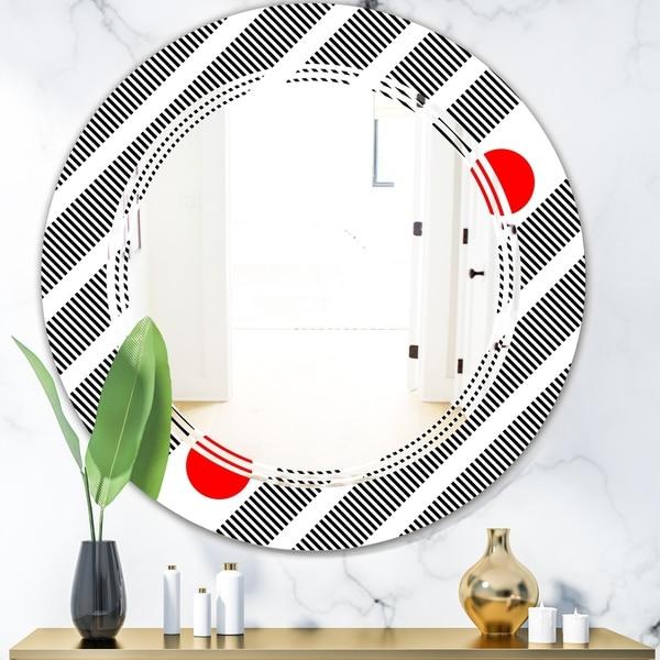Designart 'Retro Geometrical Abstract Minimal Pattern XI' Modern Round or Oval Wall Mirror - Triple C