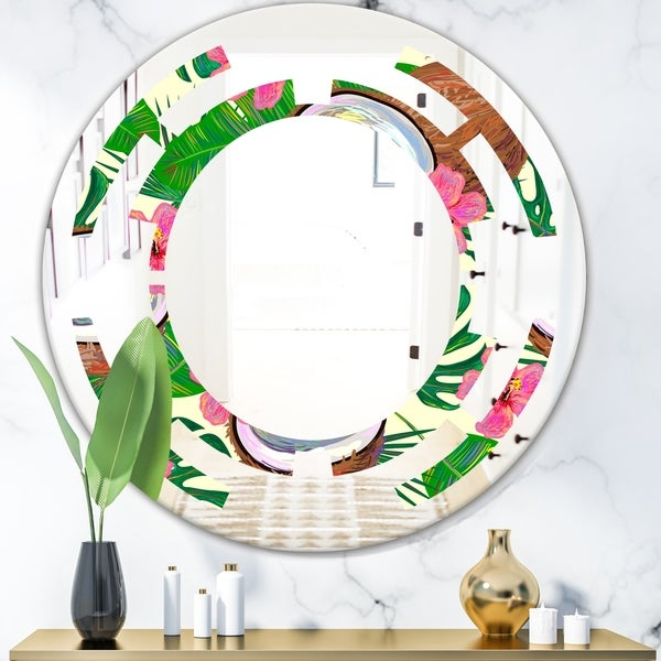 Designart 'Tropical Cooconut and Jungle Flowers' Modern Round or Oval Wall Mirror - Space