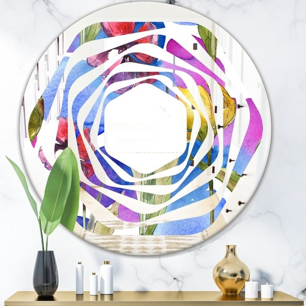 Designart 'Retro Tulips in Purple' Cottage Round or Oval Wall Mirror - Whirl