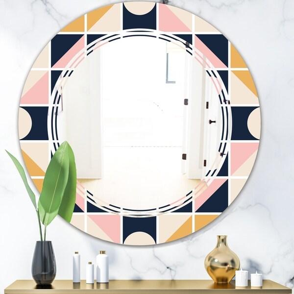 Designart 'Geometrical Retro Design I' Modern Round or Oval Wall Mirror - Triple C