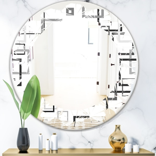 Designart 'Abstract Retro Design II' Modern Round or Oval Wall Mirror - Leaves