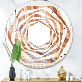 Designart 'Marbled Geode 2' Modern Round or Oval Wall Mirror - Whirl