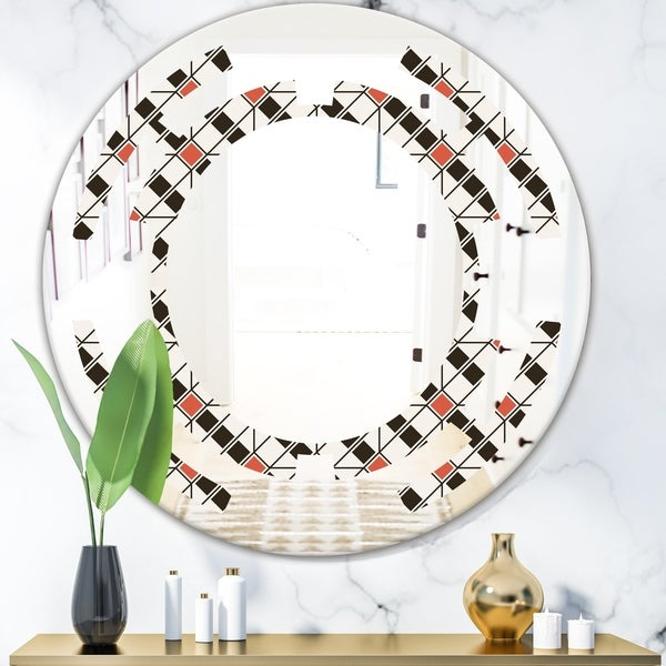 Designart 'Abstract Design Retro Pattern IV' Modern Round or Oval Wall Mirror - Space