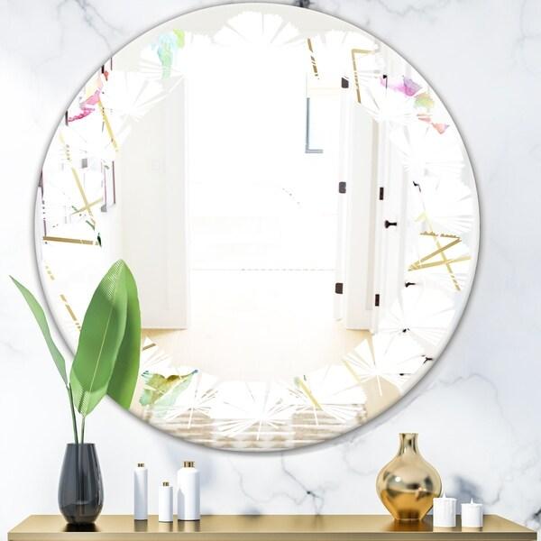 Designart 'Orange Rose Flower Retro Pattern' Modern Round or Oval Wall Mirror - Leaves
