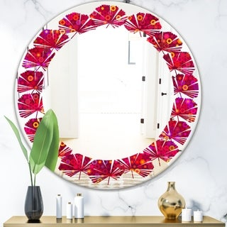 Designart 'Circular Retro Design III' Modern Round or Oval Wall Mirror - Leaves