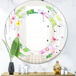 Designart 'Tropical Botanicals and Flowers VI' Modern Round or Oval Wall Mirror - Space