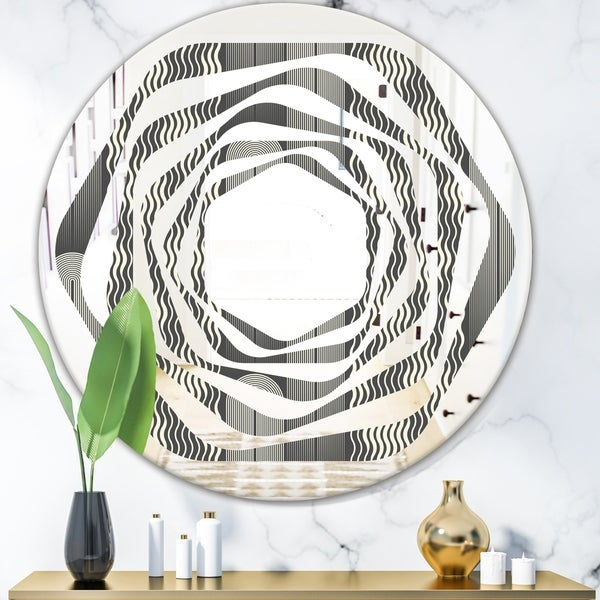 Designart 'Mimimal Black and White Design II' Modern Round or Oval Wall Mirror - Whirl