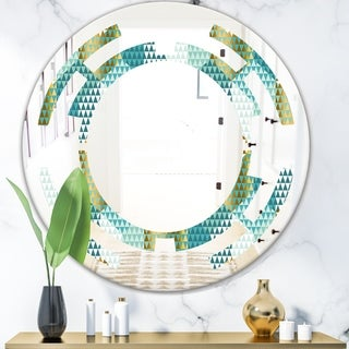 Designart 'Retro Hexagon Pattern IV' Modern Round or Oval Wall Mirror - Space - Multi