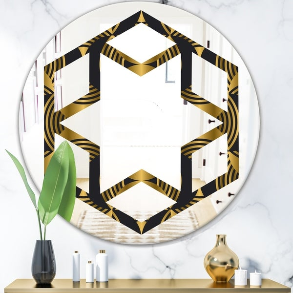 Designart 'Art Deco style modern pattern' Modern Round or Oval Wall Mirror - Hexagon Star